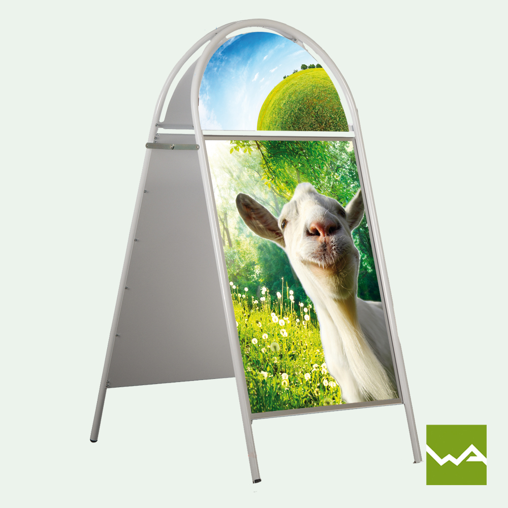 kundenstopper outdoor aus unzerst rbarem stahlrohr. Black Bedroom Furniture Sets. Home Design Ideas