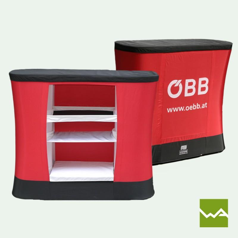 Aufblasbare Messetheke – MB-AIRDESK two - ÖBB