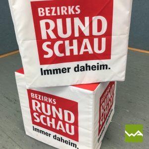 Sitzwürfel bedruckt – Bezirksrundschau 2
