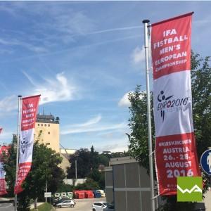 Werbefahnen - Hissfahnen - Knatterfahnen - Faustball EM 2016