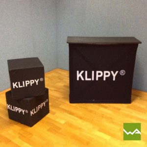 Promotiontheke Pop up Textil – Klippy