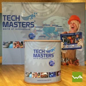 Faltdisplay Pop up Textil + Promotiontheke ELLIPSE Tech Masters
