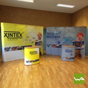 Faltdisplay Pop up Textil + Lamellen Counter Medium XINTEX