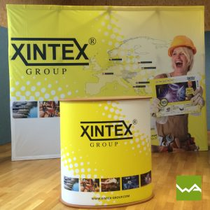 Faltdisplay Pop up Textil + Promotiontheke ELLIPSE XINTEX