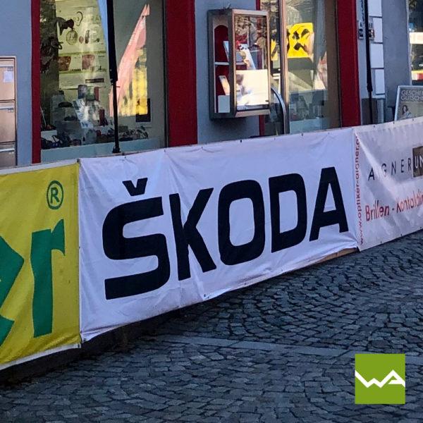 Werbebanner Textil Skoda