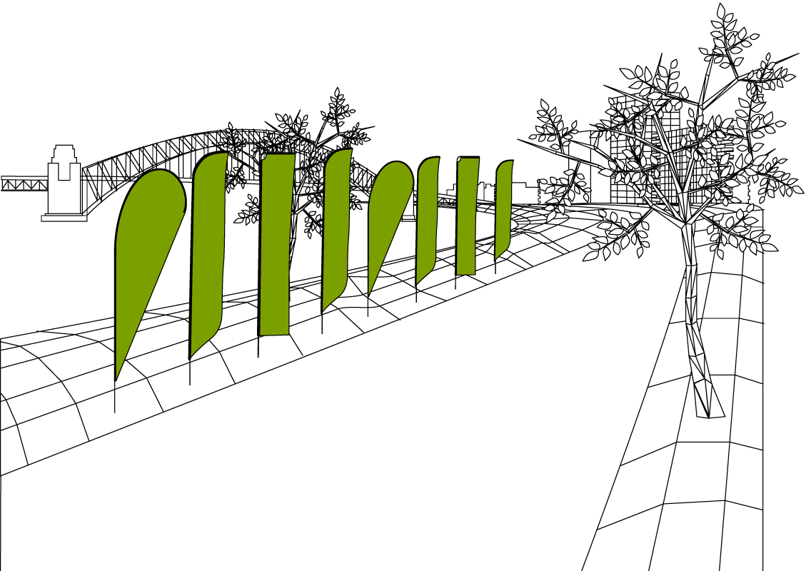 dieWerbearchitekten - Illustration Beachflag & Werbefahnen
