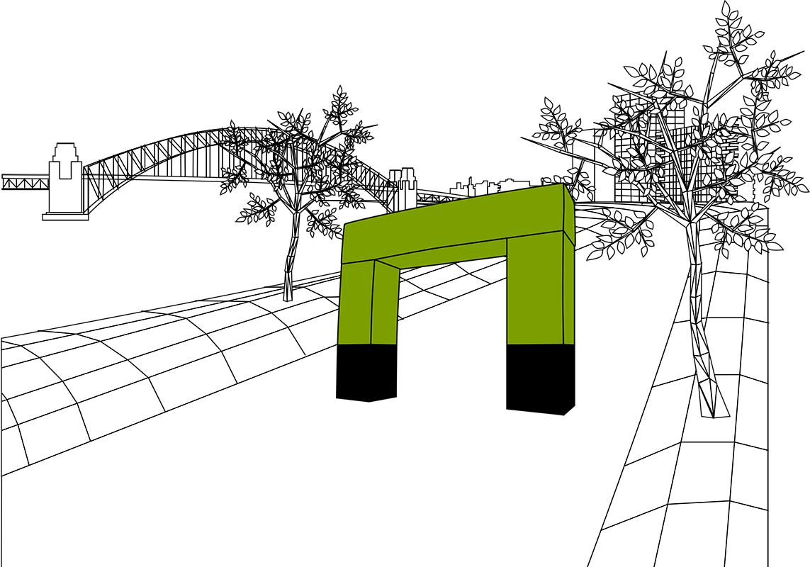 dieWerbearchitekten - Illustration Aufblasbarer Torbogen / Werbebogen